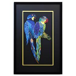 "Patricia Govezensky- Original Painting on Laser Cut Steel ""Two Parrots XII"""