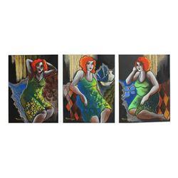 "Patricia Govezensky- Original pastel color on paper ""Green Floral Dress"""