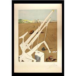 """Salvador Dali- Original Engravings with Lithographic Color """"Dali Martian Muni Double Microscope Holo"""
