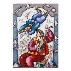 """Michael Kachan, """"String Duet"""" Hand Embellished Limited Edition Serigraph on Canvas, Roman Numbered I"""