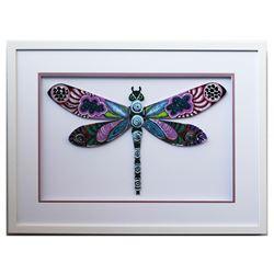 "Patricia Govezensky- Original Painting on Laser Cut Steel ""Dragonfly XLI"""
