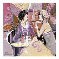 """Isaac Maimon, """"Lounge Cafe"""" Original Acrylic Painting, Hand Signed with Certificate of Authenticity."""