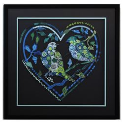 "Patricia Govezensky- Original Painting on Laser Cut Steel ""Love Birds XIII"""