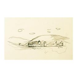 "Wayne Ensrud ""Clos du Vougeot & Latour in Burgundy"" Pencil Original Artwork; Hand Signed; COA"