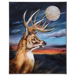 """""""White Tail Moon"""" Limited Edition Giclee on Canvas by Martin Katon, Numbered and Hand Signed. This p"""