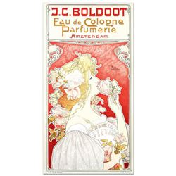 """RE Society, """"J.C. Boldoot"""" Hand Pulled Lithograph, Image Originally by Privat Livemont. Includes Let"""