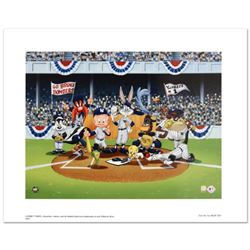 """""""Line Up At The Plate (Yankees)"""" is a Collectible Lithograph from Warner Bros. with Hologram Seal an"""