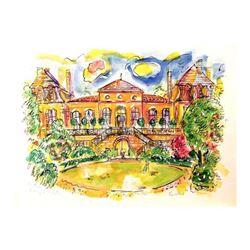 """Wayne Ensrud """"Chateau Langoa-Barton"""" Mixed Media Original Artwork; Hand Signed; COA"""
