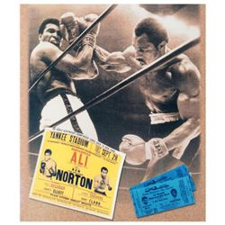 """Must-Have Signed Sports Photo Collage. """"Ken Norton and Ali Ticket"""" Hand-Autographed by Ken Norton (1"""