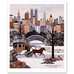 """Jane Wooster Scott, """"Manhattan Wonderland"""" Hand Signed Limited Edition Lithograph with Letter of Aut"""