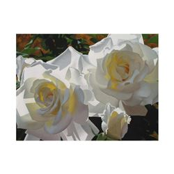 """Brian Davis, """"White Radiant Roses"""" Limited Edition Giclee on Canvas (40"""" x 30""""), Numbered and Hand S"""
