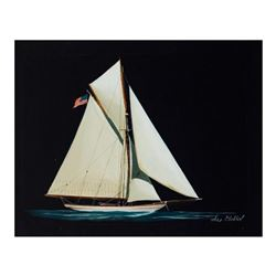 """Alex Blokhin, """"U.S. One Masted Yacht"""" Original Oil Painting on Canvas, Hand Signed with Letter of Au"""
