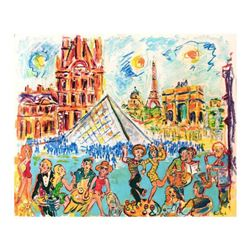 "Wayne Ensrud ""Café du Louvre, Paris"" Mixed Media Original Artwork; Hand Signed; COA"
