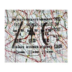 """Steve Kaufman (1960-2010), """"1969 Woodstock Ticket"""" Hand Signed and Numbered Limited Edition Hand Pul"""