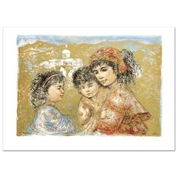 """Zalina with Aries and Ande"" Limited Edition Lithograph by Edna Hibel (1917-2014), Numbered and Hand"