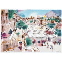 "Shmuel Katz- Original Serigraph ""Wailing Wall Plaza"""