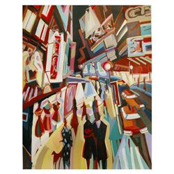 """Natalie Rozenbaum, """"Broadway Lights"""" Limited Edition on Canvas, Numbered and Hand Signed with Letter"""
