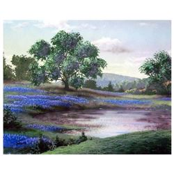 """Ken Shotwell, """"Blue Field I"""" Hand Signed Original Panting with Certificate of Authenticity."""