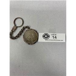 Silver Mexico Coin Keychain