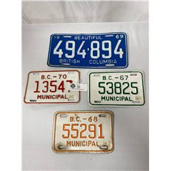Lot Of 4 Vintage BC License Plates