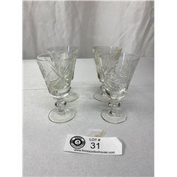 Set Of Four 1950s Crystal Liquor Glasses In Original Box