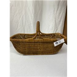 Vintage Open Wicker Basket With Handle 1950s 16x9x5