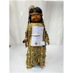 1930s Wooden Indian Girl Signed By Artist Van Vliet, Face Is Hand Painted, Doe Skin, Leather Cloth W