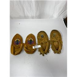 2 Pairs Of Native Moccasins With Bead Work