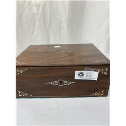 Antique Rosewood Jewlery Box 1880, M.O. Pearl Inlay, As Found