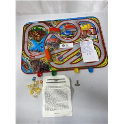Vintage 1950s Hungarian Traffic Metal Board Game, Comes With Cars And Road Signs, Original Box, Grea