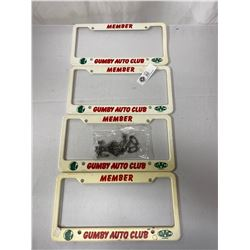 Lot Of Four Gumby Auto Club License Plate Covers Plus Auto letters