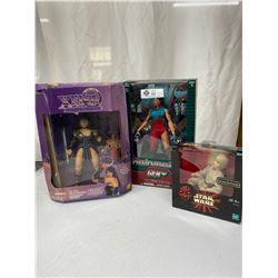 Lot Of 3 Still In Original Boxes Action Figures, Star Wars, Rain Maker And Xena