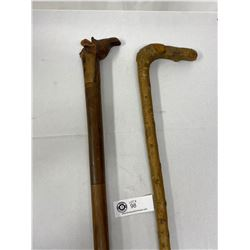 2 Nice Wood Walking Canes With A Carved Giraffe Handle