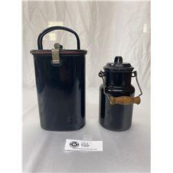 2 Circa 1940s Vintage European Enamel Wear, Soup/Food Thermos Containers