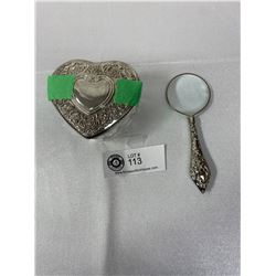 Cut Glass Vintage Dresser Jar With Stirling Silver Lid And Antique Stirling Silver Handle Magnifiyin
