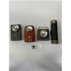 Old Franco Brand Flashlight And 3 My Day Vintage Lanterns