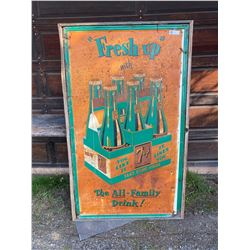 """Very Old """"Fresh Up"""" With 7-up Carton Tin Sign Lots Of Surface Rust, Has Great Subject Matter, On Woo"""