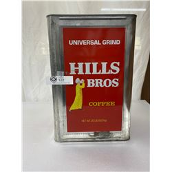 "Large Vintage Hills Brother's Coffee Can, No Lid, 16"" Tall"