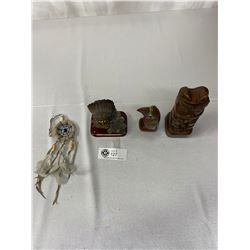 4pc Collectible Native Art, Includes Small Dream Catcher, Beaver Totem, Eagle Sculpture And Chief Wi