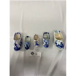 20pcs Vintage Delft Porcelain Shoes, Hand Painted, Various Sizes