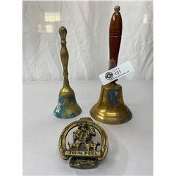 3pc Vintage Brass Lot, 2 Handheld School Bells And John Peel Door Knocker