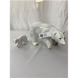 Vintage Polar Bear And Cub Porcelain Figures, Highly Detailed Coats, Hand Painted Eyes And Claws. La
