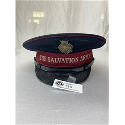 Vintage Salvation Army Hat With Blood And Fire Brass Badge, Good Condition