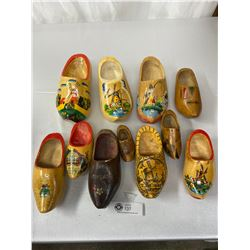 11 Vintage Hand Painted Wooden Shoes, Assorted Sizes 1 Is Dated 1945