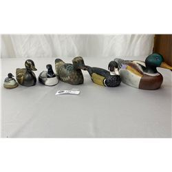 6pc Lot, Collectible Ducks And LOONS, Large Mallard Is Porcelain, 1 Brass, 1 Stone, 2 Wood, 1 Compos