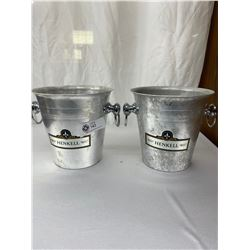 """2 Henkell Metal Champagne Buckets, Approx 8"""" Tall"""