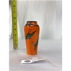 """1930s Rare Shelly Art Deco Vase Vibrant Oragne Colour With A Crane Design 5"""" Tall"""
