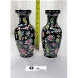 "Vintage Matching Pair Of Chinese Porcelain Vases Flower Design On Black Background 8.5"" Tall"
