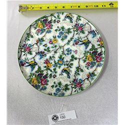 """Vintage Staffordshire Mid Winter Bird Chintz Plate 10"""" Diameter, 1948-1953"""