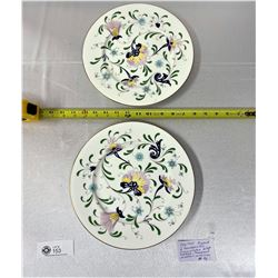 "Coal Port England 2 Handpainted Dinner Plates 10 3/4"" Diameter Pattern Pageant"